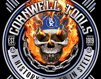 Flaming Skull Emblem T-Shirt Imprint