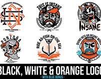 Black, white & orange logos