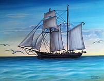 Paisaje marino y barca
