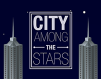 City among the stars - vector illustration