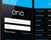 Aria BlackCar app Logo and UI/UX design