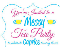 Messy Tea Party Birthday Invitation
