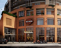 3D CGIs of Warr's Harley Davidson showroom, London
