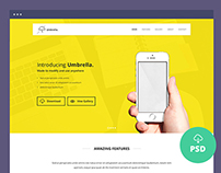 Freebie – Umbrella – Ultimate App Landing Page PSD Temp
