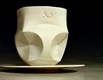 Tea set made of folded paper