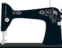 Vintage Sewing Machine Flat Illustration