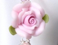 Pink Polymer Clay Scuplted Rose Earrings