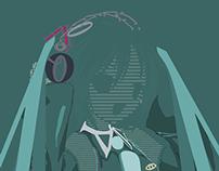 Ilustración tipografia de Hatsune Miku
