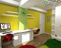 Design of kids room. 3D visuelization
