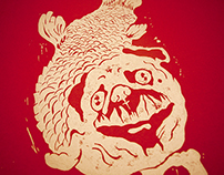 "Gold-Pug ""Horatio"" Print Linocut"