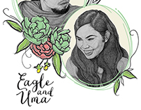 Eagle & Uma Bohemian Inspired Wedding Invitation