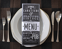 Menu, new vintage type and graphics