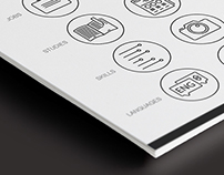 Icon design: Line style CV-icons for designers