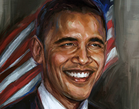 Photoshop acrylic painting of President Obama portrait