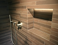 Walk in shower, striped mosaic