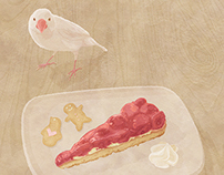 Cake and small bird