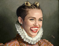 Classical Paintings with a Modern Twist - Miley Cyrus