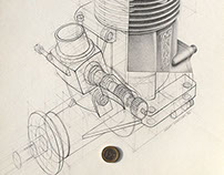 OS MAX model engine, pencil drawing