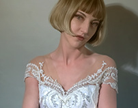 Made a White Corset gown FIDM Mode Photoshoot