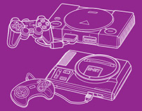 Gaming consoles in line art style