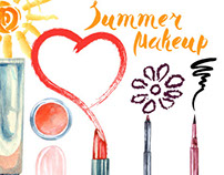 Watercolor  cosmetics background  with   make up artist