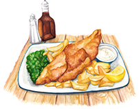 Food Illustration - Fish & Chips