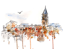 Watercolor illustrations of famous world cities