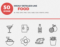 Vector Line Icons Food set