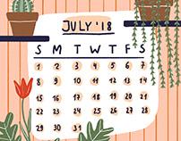 July'18 calendar