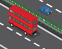 Red Double Decker in the highway