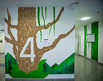 OFFICE DESIGN // FOREST // MIXED MEDIA MURALS