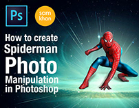 how to create Spiderman photo manipulation In Photoshop