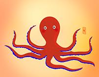 Pink radioactive octopus