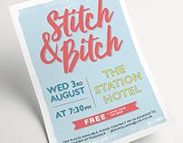 'Stitch & Bitch' Craft Evening Poster