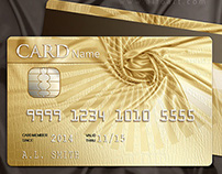 Golden style design for the credit card.