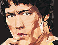 Bruce Lee - Low Poly Illustration