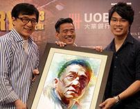 Presenting illustration to celebrities
