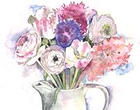 bouquet in a teapot