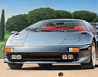 "Lamborghini DIABLO VT"", photorealistic illustration"