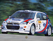 Ford Focus WRC, photorealistic illustration