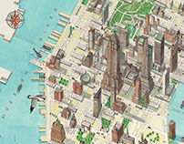3d Manhattan New York map