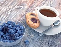 Tea and berries in Houdini