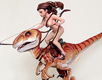 Dinosaur Rider-scuplture