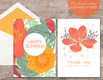 Happy Summer Tropical Greeting Card Set