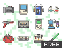 Free 80s retro vector icons