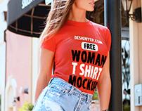Free Women T Shirt Mockup PSD