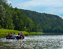Rafting on Ay river in Chelyabinsk Region