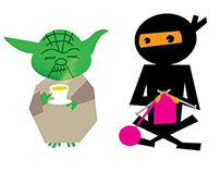 Knitting Ninja and Yoda