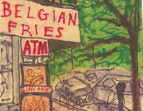 new york city scenes, in marker and pen