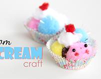 Pom Pom Ice Cream Craft | YouTube Tutorial